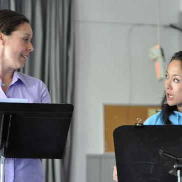 "France Perras and Agnes Tong in reading of ""The Toilet Paper Caper"" at the Firehall Arts Centre. Photo by Chuk Foto (2012)"