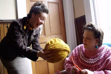 """France Perras and Kathryn Kirkpatrick in """"The Universal Knitting Revival Club"""" at the Firehall Arts Centre (2011)."""