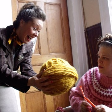 "France Perras and Kathryn Kirkpatrick in ""The Universal Knitting Revival Club"" at the Firehall Arts Centre (2011)."