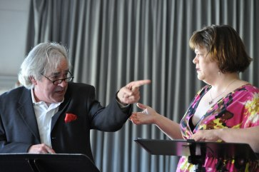 """Alec Willows and Kathryn Kirkpatrick in """"Toilet Paper Caper"""" reading at the Firehall. Photo by Chuk Foto (2012)."""