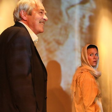 """Ghosts in Baghdad"" at Little Mountain Theatre, 2014. Alec Willows and Gili Roskies. Photo by Tim Matheson."