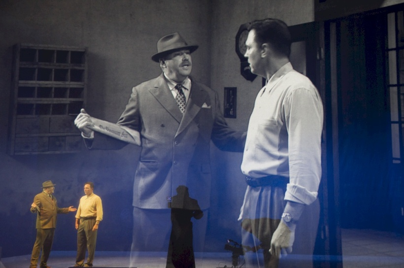 In Helen Lawrence (Arts Club Theatre 2014), the actors on stage were also often also pictured in the projected images.
