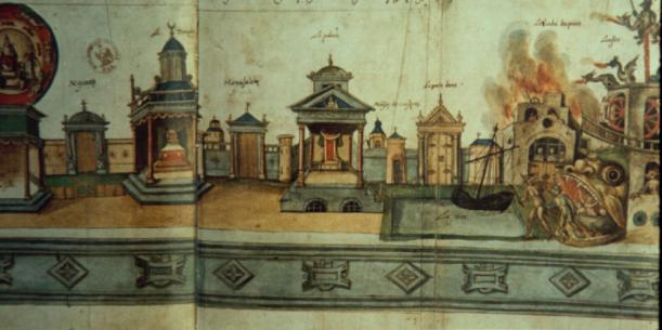 An drawing of a Medieval Mystery play, including multiple stages, a water feature, and a Hell Mouth.
