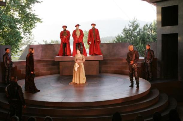 """Othello,"" produced by Bard on the Beach 2009. Neil Maffin, Naomi Wright, Michael Blake, and Bob Frazer, principle actors pictured; Kevin McAllister, Sets; Mara Gottler, Costumes; Gerald King, Lighting; Dean Paul Gibson, Director. Photo by David Blue."
