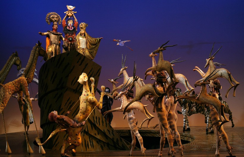 "The incredible puppetry, costuming, and lighting that goes into making the spectacle of ""The Lion King."" Julie Taymor, Director, Costumes, Masks/Puppet Co-Design; Richard Hudson, Scenic Design; Donald Holder, Lighting Design; Michael Curry, Mask/Puppet Co-Design; Michael Ward, Hair and Make up Design. Photo by Joan Marcus."
