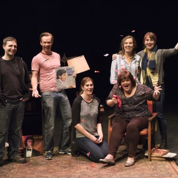 "Cast and Crew of ""I am the Bastard Daughter of Engelbert Humperdinck"" Shadbolt Centre for the Arts, 2015. L-R: Phil Berkby, Darren Boquist, Rebecca Mulvihill, Amy McDougall, Michelle Deines, Kathryn Kirkpatrick. (Sean Malmas and Robert Mitchell not pictured.) Photo by Emily Cooper."
